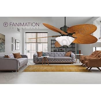 Fanimation - Islander Mat Siyah - 132 Cm. Palmiye Kanatlý Buzlu Çukur Tabak  Aydýnlatmalý Tavan Vantilatörü