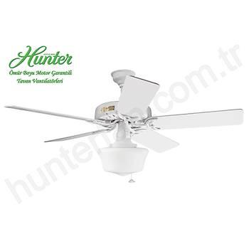 Hunter - Classic Original Beyaz - 132 Cm. Düz Beyaz Küp Cam Aydýnlatmalý Dýþ Mekan - Nemli Mekan Tavan Vantilatörü