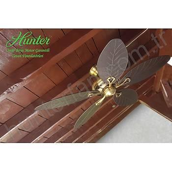 Hunter - Savoy Antik Pirinç - 137 Cm. Koyu Renk Yaprak Þekilli Kanat - Tavan Vantilatörü