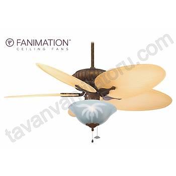 Fanimation - Belleria 132 Cm. Düz Renk Kompozit Palmiye Kanatlý Palmiye Desenli Çukur Tabak Aydýnlatmalý Tavan Vantilatörü