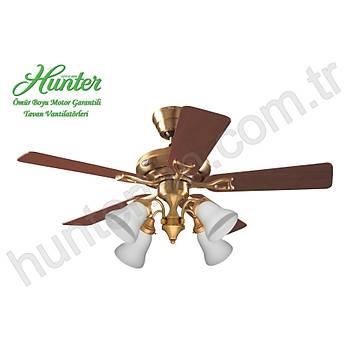 Hunter - Seville Mat Pirinç - 112 Cm. 4 lü Beyaz Buzlu Cam Aydýnlatmalý Tavan Vantilatörü