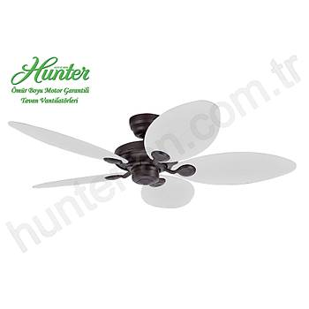 Hunter - Outdoor Elements II Çaðdaþ Bronz - 137 Cm. Beyaz Plastik Kanatlý Dýþ Mekan Tavan Vantilatörü
