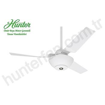 Hunter - Flight Beyaz - 132 cm. Düz Beyaz Çukur Tabak Aydýnlatmalý Tavan Vantilatörü