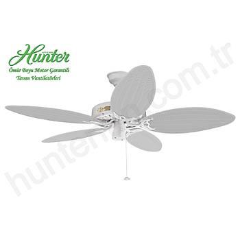 Hunter - Original Beyaz - Hasýr Örme 137 Cm. Dýþ Mekan - Nemli Mekan Tavan Vantilatörü