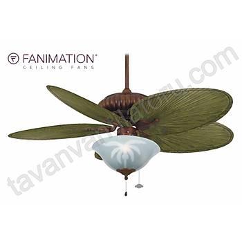 Fanimation - Belleria 132 Cm. Yeþil Renk Kompozit Palmiye Kanatlý Palmiye Desenli Çukur Tabak Aydýnlatmalý Tavan Vantilatörü