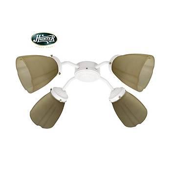 Hunter - Buzlu Kehribar Yivli Dekor Camlý 4lü Beyaz Aydýnlatma