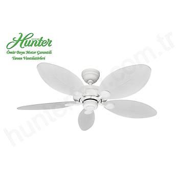 Hunter - Outdoor Elements II Beyaz - 132 Cm. Beyaz Yaprak Kanatlý Dýþ Mekan Tavan Vantilatörü