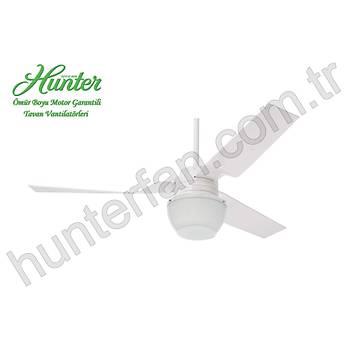 Hunter - Flight Beyaz - 132 Cm. Beyaz Glob Aydýnlatmalý Tavan Vantilatörü