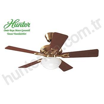 Hunter - Seville Mat Pirinç - 112 Cm. Düz Beyaz Küre Cam Aydýnlatmalý Tavan Vantilatörü