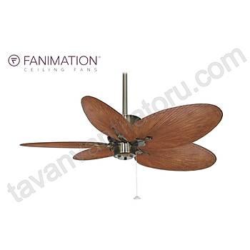 Fanimation - Islander Antik Pirinç - 132 Cm. Kahve Renk Palmiye Yapraðý Kanatlý Tavan Vantilatörü
