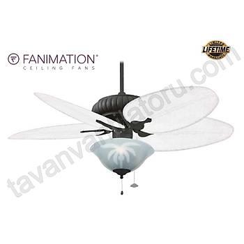 Fanimation - Belleria Dokulu Siyah 132 Cm. Mat Beyaz Bambu Örme Kanatlý Palmiye Desenli Çukur Tabak Aydýnlatmalý Tavan Vantilatörü