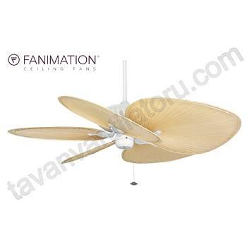 Fanimation - Belleria Beyaz - 132 Cm. Düz Renk Gerçek Palmiye Yapraðý Kanatlý Tavan Vantilatörü