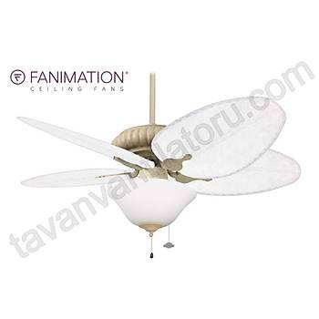 Fanimation - Belleria Latte - 132 Cm. Bambu Örme Kanatlý Dýþ Mekan Beyaz Renk Çukur Tabak Aydýnlatmalý Tavan Vantilatörü