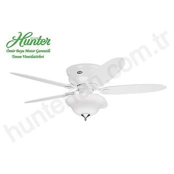 Hunter - Low Profile Beyaz - Alçak Tavanlar Ýçin - 112/132 Cm. Buzlu Cam Çukur Tabak Aydýnlatmalý Tavan Vantilatörü