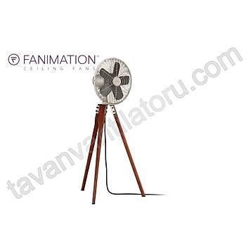 Fanimation - Arden Satin Nikel - Ceviz Renginde Tahta Ayaklý Estetik Yer Faný