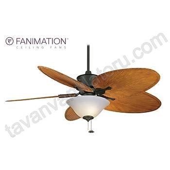 Fanimation - Islander Mat Siyah - 132 Cm. Palmiye Kanatlý Süt Beyazý Girdap Desenli Aydýnlatmalý Tavan Vantilatörü