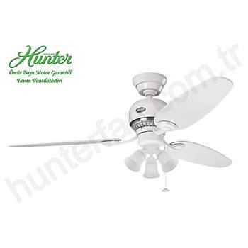 Hunter - Soho Beyaz - 132 Cm. 3 lü Beyaz Buzlu Cam Aydýnlatmalý Tavan Vantilatörü