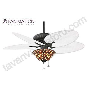 Fanimation - Belleria Dokulu Siyah 132 Cm. Mat Beyaz Bambu Örme Kanatlý Renkli Vitray Çukur Tabak Aydýnlatmalý Tavan Vantilatörü