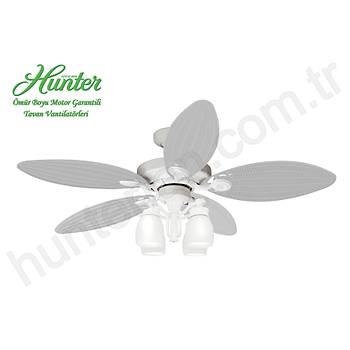 Hunter - Outdoor Elements II Beyaz - 137 Cm. Dýþ Mekan Aydýnlatmalý Gerçek Hasýr Örme Kanatlý Tavan Vantilatörü