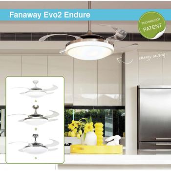 Fanaway Evo 2 Endure Beyaz - 121 Cm. Aydınlatmalı Kanatları Gizlenen Tavan Vantilatörü