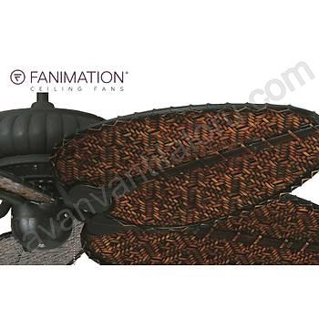 Fanimation - Belleria Dokulu Siyah - 137 Cm. Dar Oval Bambu Örme Kanatlý Dýþ Mekan Tavan Vantilatörü