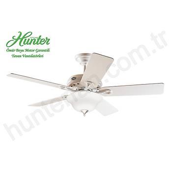 Hunter - Savoy Beyaz - 132 Cm. Beyaz Çukur Tabak Cam Aydýnlatmalý Tavan Vantilatörü