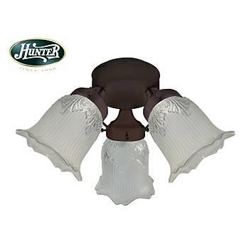 Hunter - 3 lü Çağdaş Bronz Gövde Rengi -  Yarı Buzlu Çiçek Desenli Zil Cam Aydınlatma