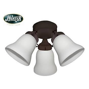 Hunter - 3lü Çağdaş Bronz Gövde Rengi -  Beyaz Buzlu Cam Aydınlatma
