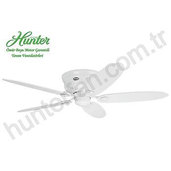 Hunter - Low Profile Beyaz - Alçak Tavanlar Ýçin - 112 - 132 Cm. Tavan Vantilatörü