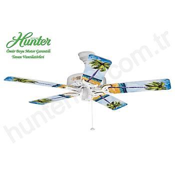 Hunter - Classic Original Beyaz - 132 Cm. Büyülü Palmiye Desenli Kanatlý Dýþ Mekan - Nemli Mekan Tavan Vantilatörü