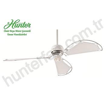 Hunter - Avalon Beyaz - 158 Cm. Bez Kanatlý 3 lü Spot Aydýnlatmalý Tavan Vantilatörü