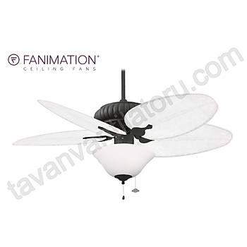 Fanimation - Belleria Dokulu Siyah - 132 Cm. Mat Beyaz Bambu Örme Kanatlý Beyaz Çukur Tabak Aydýnlatmalý Tavan Vantilatörü