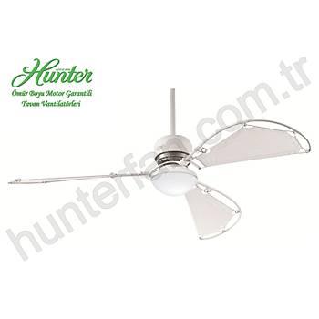 Hunter - Avalon Beyaz - 158 Cm. Bez Kanatlý Beyaz Küre Cam Aydýnlatmalý Tavan Vantilatörü