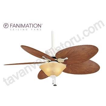 Fanimation - Islander Mat Beyaz - 132 Cm. Palmiye Kanatlý Aydýnlatmalý Tavan Vantilatörü