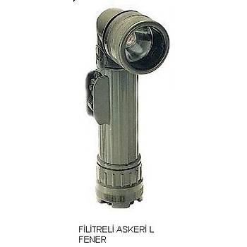 3 Renkli Filtreli El Feneri L Tipi Askeri Model
