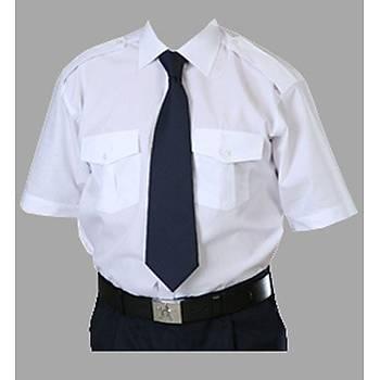 Güvenlik Gömleði Yazlýk Beyaz Renk ( Kravat Yaka )
