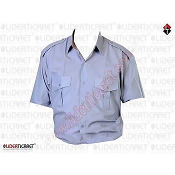 Güvenlik Gömleði Yazlýk Gri Renk ( Kravat Yaka )