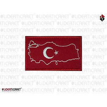 Türkiye Haritasý Bayraklý  Armasý/Peç Cýrtlý Model 2