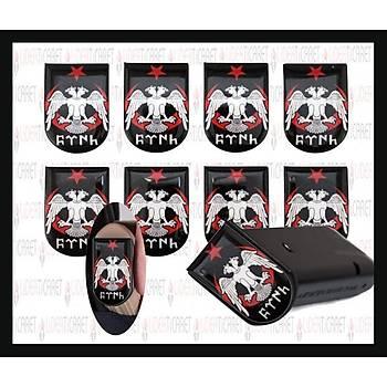 Sticker Þarjör Kapaðý Çift Baþlý Kartal Göktürkçe TÜRK Yazýlý( 3 Adet )