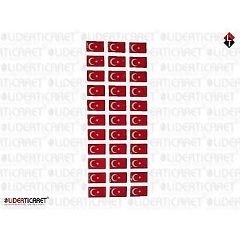 Sticker Kare Türk Bayraðý Mini 33 Adet
