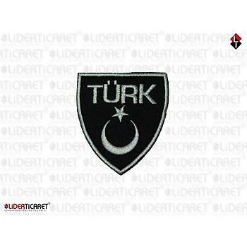 TÜRK Yazýlý Türk Bayraðý Filo Siyah Renk Arma/Peç Cýrtlý