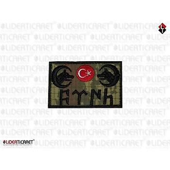Çift Kurt Baþlý Ayyýldýz Bayrak Göktürk Türk Yazýlý Kamuflaj Renk Arma/Peç