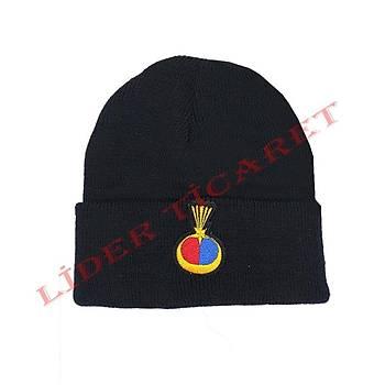 Jandarma  Beresi Yün Lacivert Renk Armalý Nakýþ Ýþlemeli