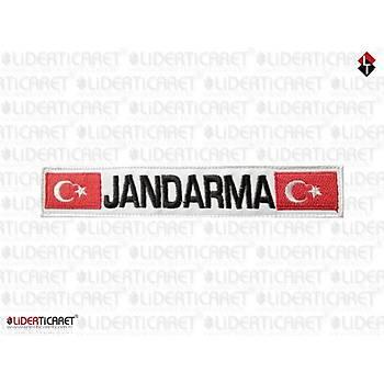 '' JANDARMA '' Yazýlý ve Türk Bayraklý Bacak Kýlýfý Yazýsý Beyaz Renk