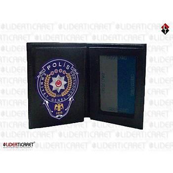 Polis Cüzdaný Hakiki Deri Yeni Model Silikonlu Polis EGM Logolu Mavi Renk