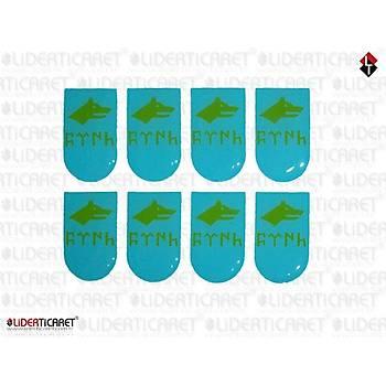 Sticker Þarjör Kapaðý Göktükçe Türk Yazýlý Kurt Logo Turkuaz Renk ( 3 Adet )