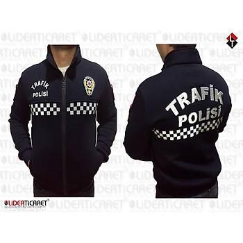 Polar Trafik Polisi Montu Reflektörlü Armalý Slim-fit Kesim Siyah Renk