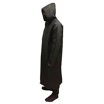 Siyah Renk Pardösü Askeri Yaðmurluk (Siyah PVC-PU Kumaþtan üretilmiþ Yaðmurluk)