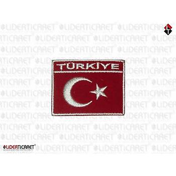 Bayraklý Türkiye Armasý/Peç Kare Süet Kumaþ Cýrtlý