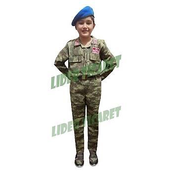 Asker Çocuk Komando Kýyafeti Kamuflaj Nano Renk Bereli Takým